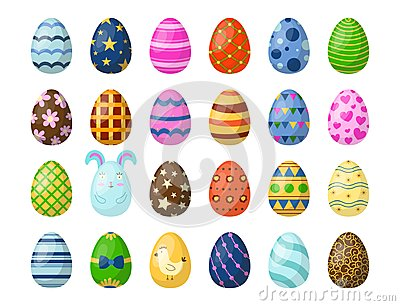 Easter eggs painted with spring pattern multi colored organic food holiday game vector illustration. Vector Illustration