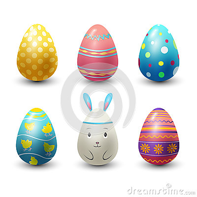 Easter eggs painted with spring pattern vector illustration. Vector Illustration