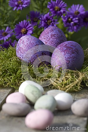 Easter eggs in pastel color