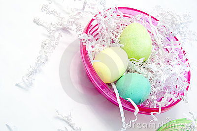 Easter Eggs in Pink Bowl