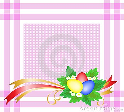 Easter eggs on a pink tablecloth