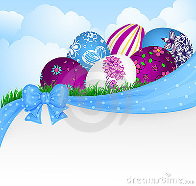 Easter eggs and ribbon