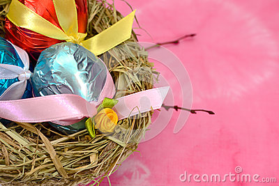 Easter eggs with satin ribbon