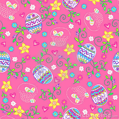 Easter Eggs Seamless Repeat Pattern