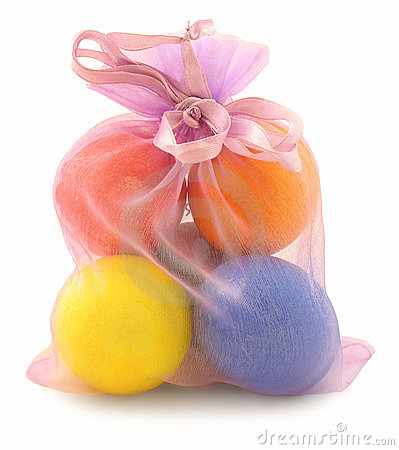 Easter eggs in small bag on white
