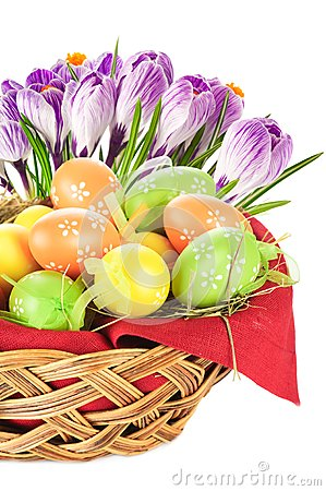 Easter eggs spring flowers