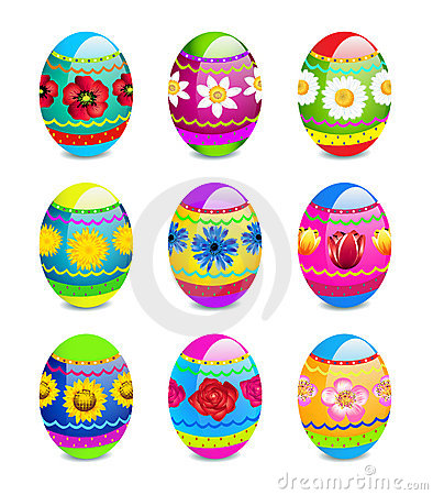 Easter eggs with spring flowers pattern