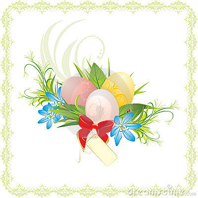 Easter eggs, spring flowers and red bow with card