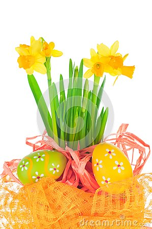Easter eggs and spring narcissus (daffodil)