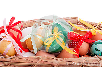 Easter eggs in a straw basket