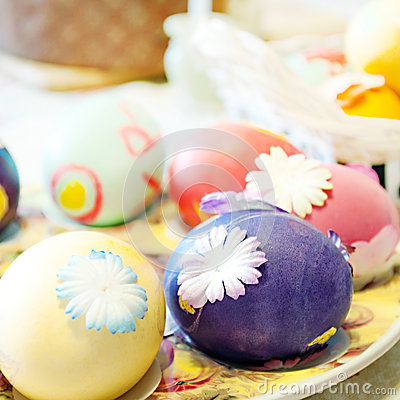Easter eggs on table