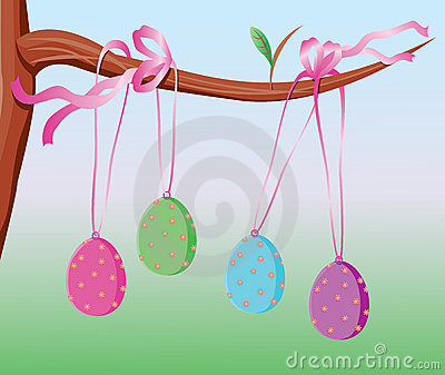 Easter eggs tied with pink ribbon