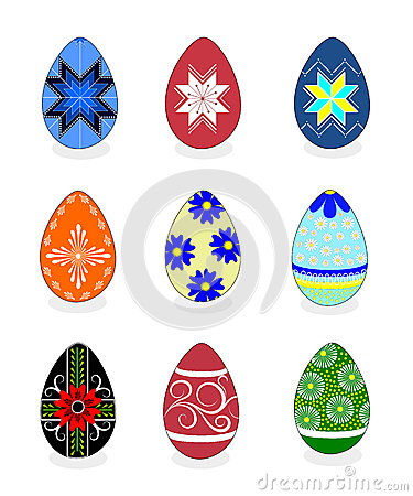 Free Easter Eggs: Vector Illustration With A Set Of Colorful Painted Stock Image - 51332301