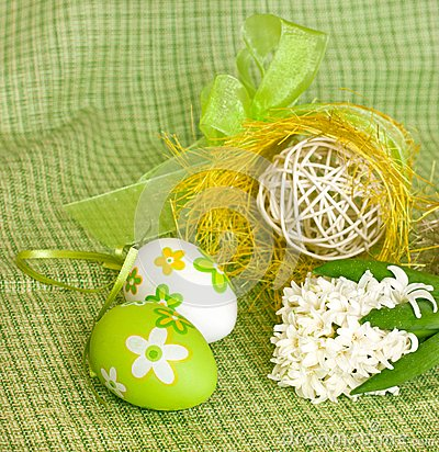 Easter eggs and  white hyacinth