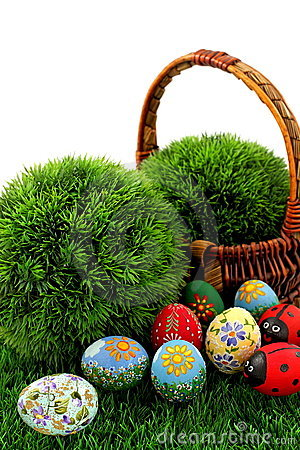 Easter eggs and wicker basket