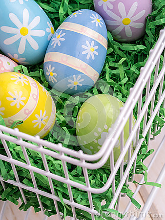 Easter Eggs in Wire Basket