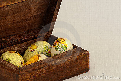 Easter eggs in wood box