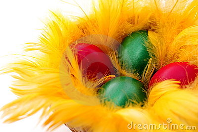 Easter eggs in the yellow  nest