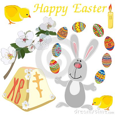 Easter elements set: cute rabbit, chicken, tender blooming branch, candle, painted eggs isolated on white background Vector Illustration