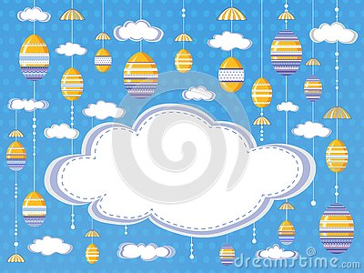 Easter festive background or poster with clouds and hanging decorative eggs on the sky background with empty space for text Vector Illustration