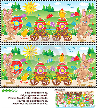 Free Easter Find The Differences Picture Puzzle Stock Images - 51961214