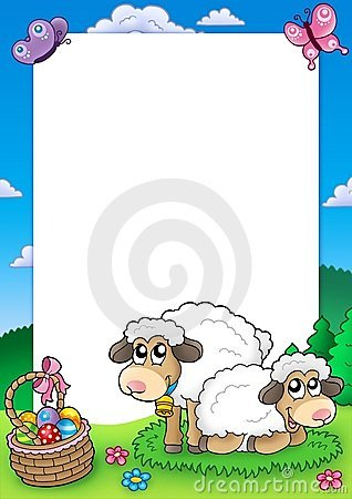Easter frame with cute sheep