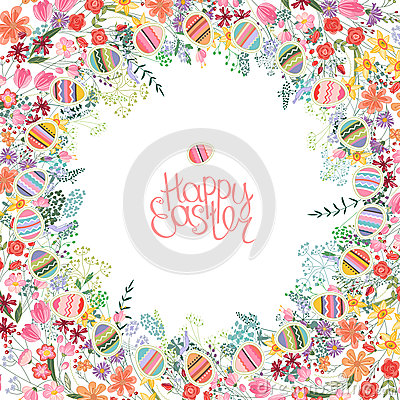 Free Easter Frame With Contour Flowers And Eggs. Royalty Free Stock Photography - 71859907