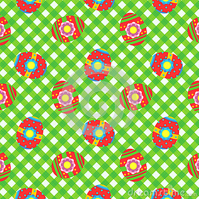 Easter gingham cloth with painted eggs, seamless pattern included