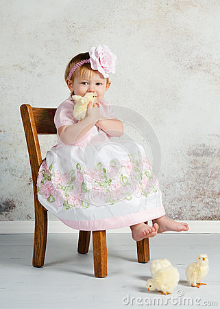 Easter Girl And Chicks Stock Photos - Image: 29657593