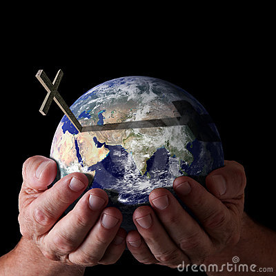 Free Easter Gods Hands Holding World With Cross Royalty Free Stock Image - 18734806