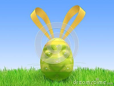 Easter green egg - a hare