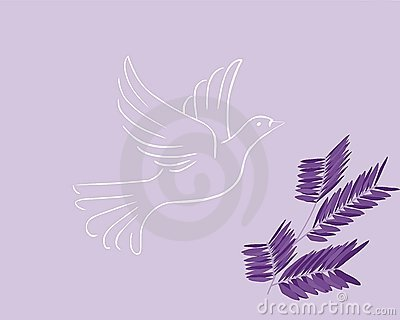 Easter greeting card with dove and olive branch