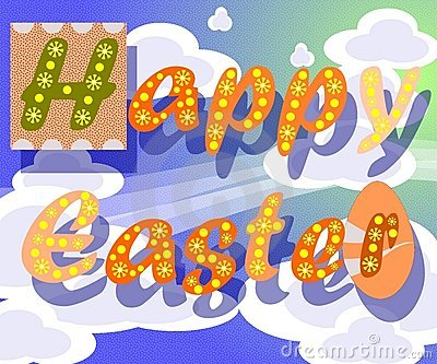 Easter greeting card with clouds in the sky