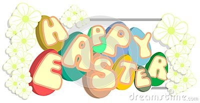 Easter greeting card with eggs and flowers isolated