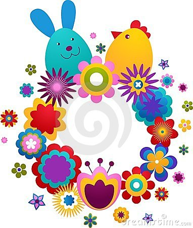 Easter greeting card with bunny and bird