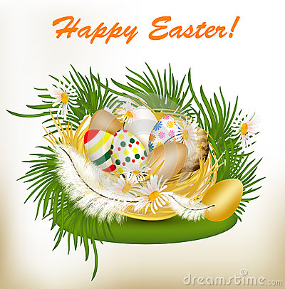 Easter greeting card with colorful eggs, green grass and nest