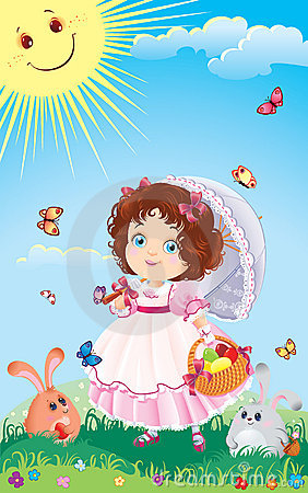 Easter greeting card with cute little girl on a wa