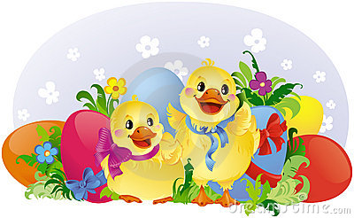 Easter greeting card with ducklings and eggs
