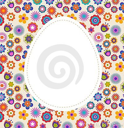 Easter greeting card with egg and flowered pattern