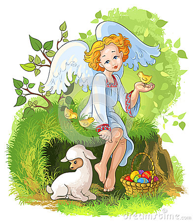 Cute angel girl with Easter basket, chickens and l