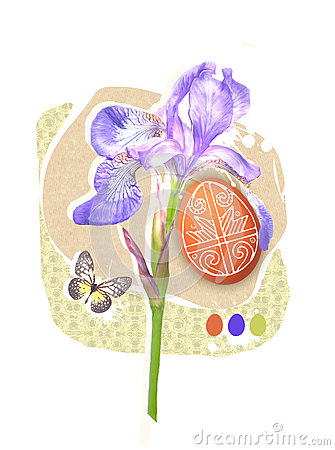 Easter Greeting Card Template With Paschal Egg, Butterfly And