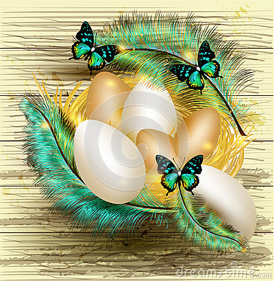Free Easter Greeting Card With Nest Full Of Eggs And Colorful Ferns Stock Images - 28444674