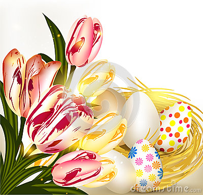 Free Easter Greeting Card With Nest Full Of Eggs And Tulips Royalty Free Stock Photo - 28913825