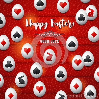 Free Easter Greetings Card With Red And Black Gambling Symbols Over White Eggs, Vector Illustration.Suitable For Invitations, Greeting Stock Photography - 144922402