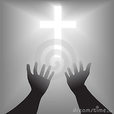 Easter Hands Cross Silhouette