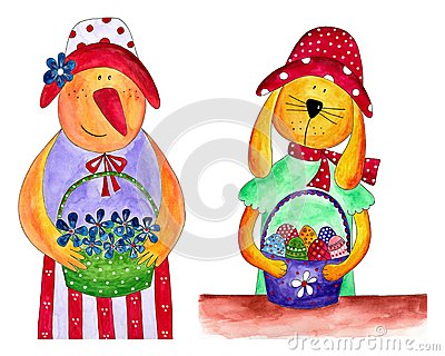 Easter hen and bunny. Country style