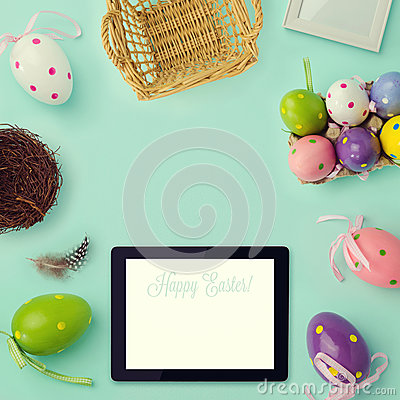 Free Easter Holiday Background With Retro Filter Effect. Easter Eggs Decorations And Tablet. View From Above Stock Image - 51427431