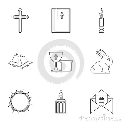 Easter holiday icon set, outline style Vector Illustration