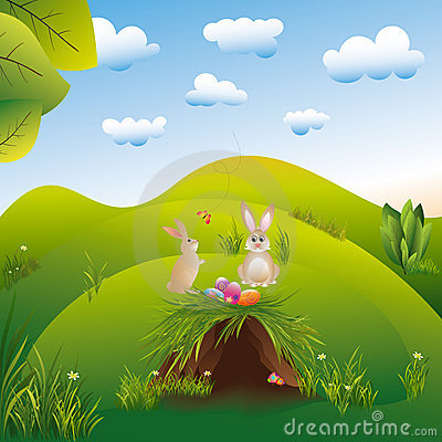 Easter holiday landspace hares in the wonderland