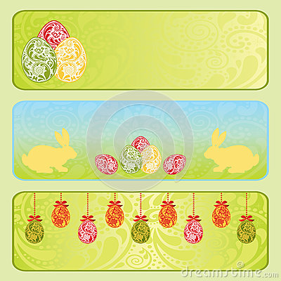 Easter horizontal banner set.
